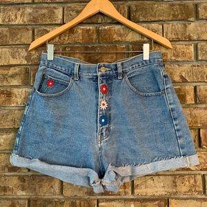 90's vintage flower power high waist denim shorts